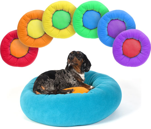 Dachshund in a Cozy Puff Dog Bed